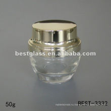 50 г прозрачное стекло крем банку с блестящей золотой крышкой пластмассы
