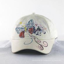 Bordado da borboleta com linhas brilhantes bonés dos miúdos das meninas