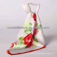 """34 """"x34"""" bufanda de seda de la bufanda roja al por mayor de la flor"""