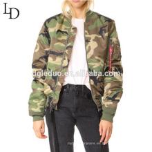 Dongguan fabricante precio barato alta calidad camuflaje color chaqueta de las mujeres