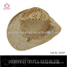 Señoras papel paja vaquero sombrero hecho a mano diseño de moda unisex