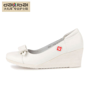 Two outsole white leather wedge high heel unique nurse shoes