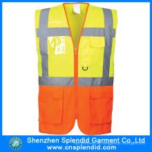 Kundenspezifische hohe Sichtbarkeit Verkehrssicherheit Reflektierende Arbeitsweste mit Taschen