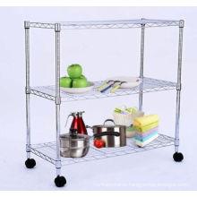 DIY Modern Chrome Metal Wire Home Storage Cart (TR753590B3CW)