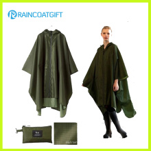 Imperméable imperméable de PVC vert de polyester d'armée Rpy-046