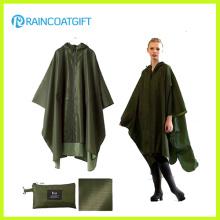 Wasserdichter Armee-Grün-Polyester PVC-Regenmantel Rpy-046