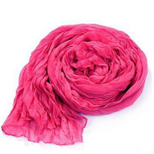 180*90 cm Large Solid Cotton Linen New Fashion Crumple Print Scarf