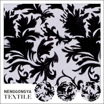 Cheap tecido de fronteira elegante com bordados de folha de cutwork
