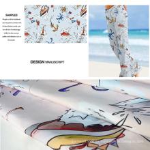 Dibujos animados-diseño impreso ropa de playa, tela cepillada de Textiles para el hogar