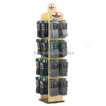 Merchandising Holz Einzelhandel Spinner Display Racks, Standing Sock Textile Display Racks
