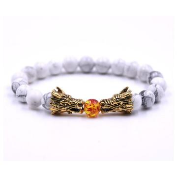 Women Dragon Head 8MM Beads Howlite Bracelet