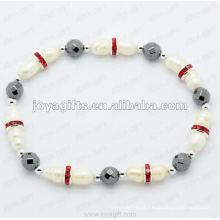 "Hematite magnético Round Beaded Bracelet 7.25 """