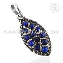 Splendid Lapis Edelstein Anhänger Handgefertigte 925 Sterling Silber Schmuck Großhandel Jaipur Online Schmuck