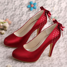 Wedopus High Heel Dama de honor Zapatos Vino Rojo