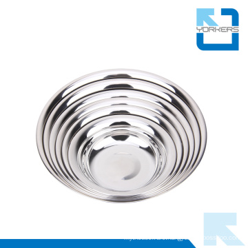 Anti-Spill Round Shape 201 Stainless Steel Dinner Soup Plate & Dish Plate