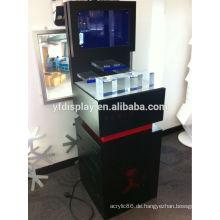 Neue Welle Kundengebundener farbiger Acryldrehender Boden LED Acryl & MDF-Schmuck-Kosmetik-Uhr-Glas-Anzeigen-Halter für Schaukasten