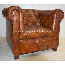 Canapé-lit simple en cuir véritable, couleur brun foncé