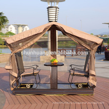 Hot sale outdoor metal 4 seat dining swing chair with canopy and net garden furniture