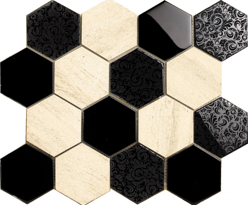 Fashion Black Flower Pattern Hexagon Mosaic