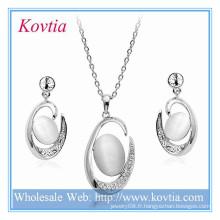 Nuptiale exquise en argent grand collier pendentif et boucles d'oreilles bijoux pour mariage