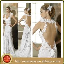 NA-21 bellamente pesado embelleció el cordón Appliqued la blusa formal del vestido de boda nupcial 2015 V cuello largo ve a través el vestido atractivo