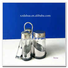 High Quality Clear Glass Spice Jars with Metal Stand