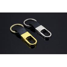 Corrente de couro do anel chave de Keychain do metal do OEM para o presente relativo à promoção