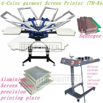 Máquina de impressão de tela t-shirt manual de 6 cores TM-R6