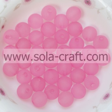 A Great Selection 8MM Cute Pink Color Round Frosted Plastic Beads With Reasonable Price