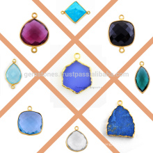 Gold Plated Silver Bezel Connectors And Charms, Wholesale Gemstone Bezel Charms And Connectors Manufacturer
