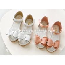 Soft meninas elegante sapatos sandália plana velcro com bowtie