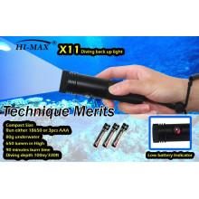 Hi-max X11 Druckknopfschalter mit Low-Power-Anzeige klein Tauch-Backup-Licht 650lm