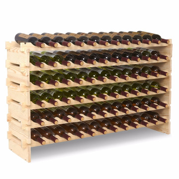 6 Tier 72 Bottles Wine Rack Freestanding Floor Wooden Stackable Storage Shelf