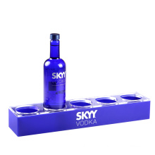 Custom Blue Plexiglass Desktop 5 Beer Bottle Display Stand Rack  Acrylic Wine Bottle Holder