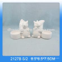 Único esquilo em forma de cerâmica animal vela titulares em cor branca