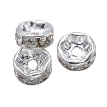 SP05 glass rhinestone wavy edge rondelle spacer connector bead in bulk 12mm