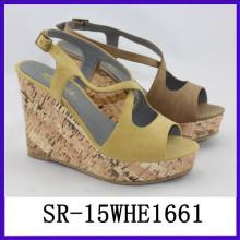 Zapatos de cuña de la jalea strappy de la manera zapatos de encargo de la cuña calza las cuñas