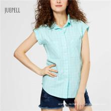 Blaues Grid Cotton Sommer Damen Shirt