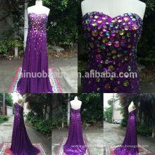 Custom Made 2014 Real Sample Purple Slim Sequin Robe de soirée formelle avec strass Sweetheart Gaine Long Prom Gown NB0773