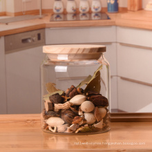 Custom Logo Quality Wood Lid 500ml Salad Glass Jar For Food Industry Glass Jar With Seal