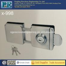 Statin cepillado de acero inoxidable 304 doble cabeza cuadrada doble puerta de cristal de bloqueo