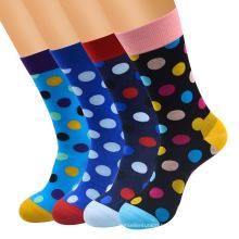 Popular logo socks full cotton socks for men with polka dots men's creative happy crew socks