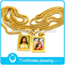 Simple Design with Two Epoxy Religious Medal Wholesale Stainless Steel Jesus and Virgin Mary Chain Necklace