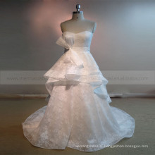 Terse Sweet Heart Multi Layers Lace Wedding Gown With sash Chapel Train