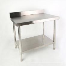 Banco de trabajo de cocina de acero inoxidable con protector contra salpicaduras