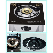 tempered glass top single burner gas cooker, gas stove with glass top