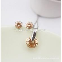 Fashion Earring Necklace Women CZ Crystal Stone Jewelry Set