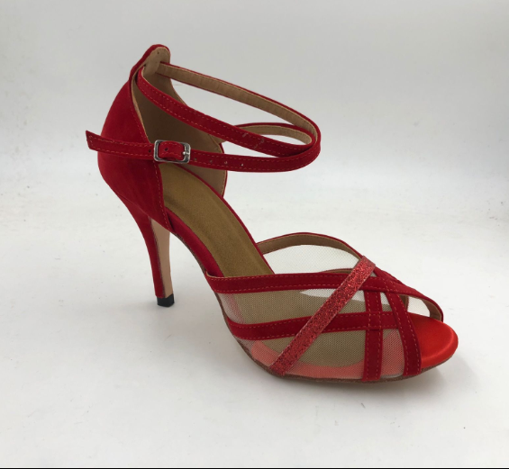 Girls Red Latin Shoes With Mesh