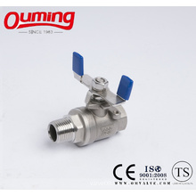 2PC Male Thread Ball Valve with Butterfly Handle