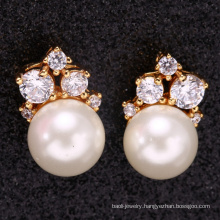 bridal accessories women ear 18 k gold pearl earring for mothers day gift